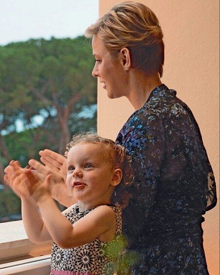 Mother and daughter . The French magazine Paris Match published new photos of Princess Charlene of Monaco and her twins Jacques and Gabriella . The pictures were taken on June 23 during the traditional celebrations of St John's Day . #PrincessCharlene #PrincesseCharlene #PrinceJacques #PrincessGabriella #PrincesseGabriella #Monaco #royals #royalchildren
