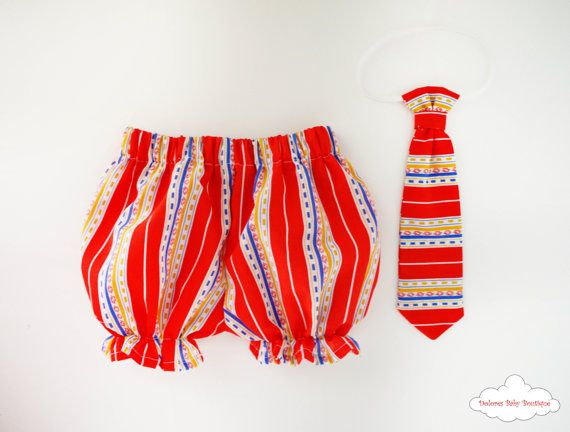 Red Baby Bloomers Baby boy Tie Boy Bloomers by DoloresBabyBoutique