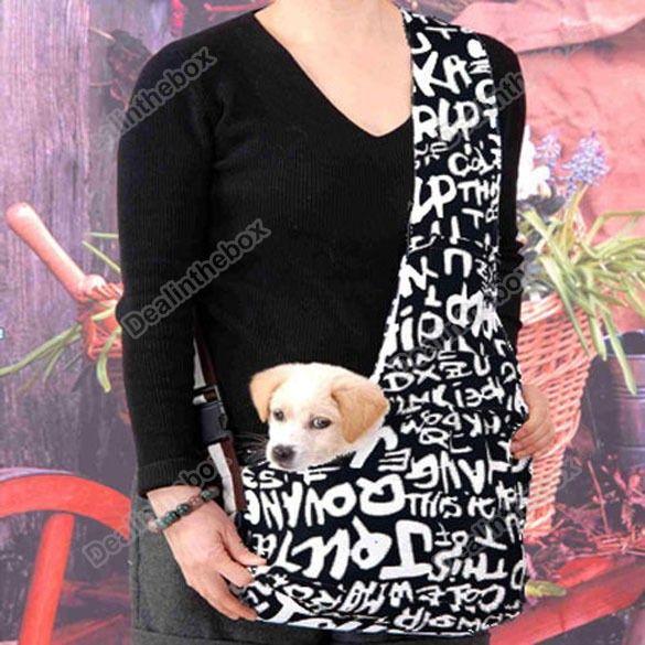 Dark Blue white Strip Sling Pet Cat Dog Tote Single Shoulde?r Bag