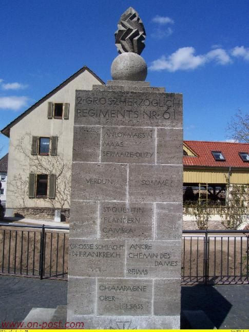 The monument of the 2nd Battalion 61st FA Regiment of the Grand Duke of Hessen in downtown Babenhausen