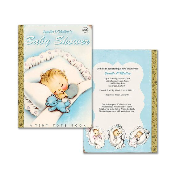 Vintage baby book shower invitation / DIY baby boy printable invitation / editable PDF/ customize it yourself / storybook theme baby shower