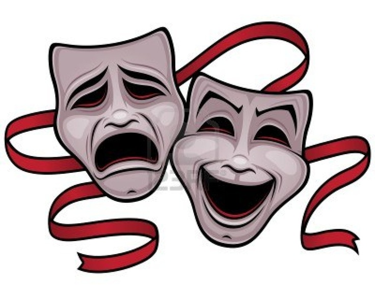 Illustration of comedy and tragedy theater masks with a red ribbon. Stock Photo