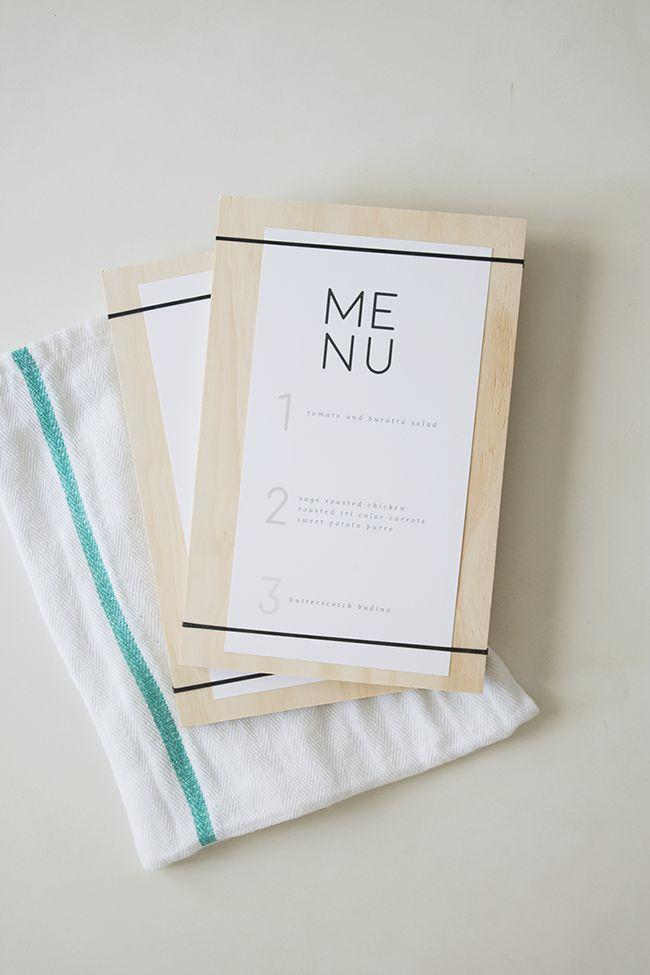 DIY wood + rubber band menus with free printable menu   almost makes perfect