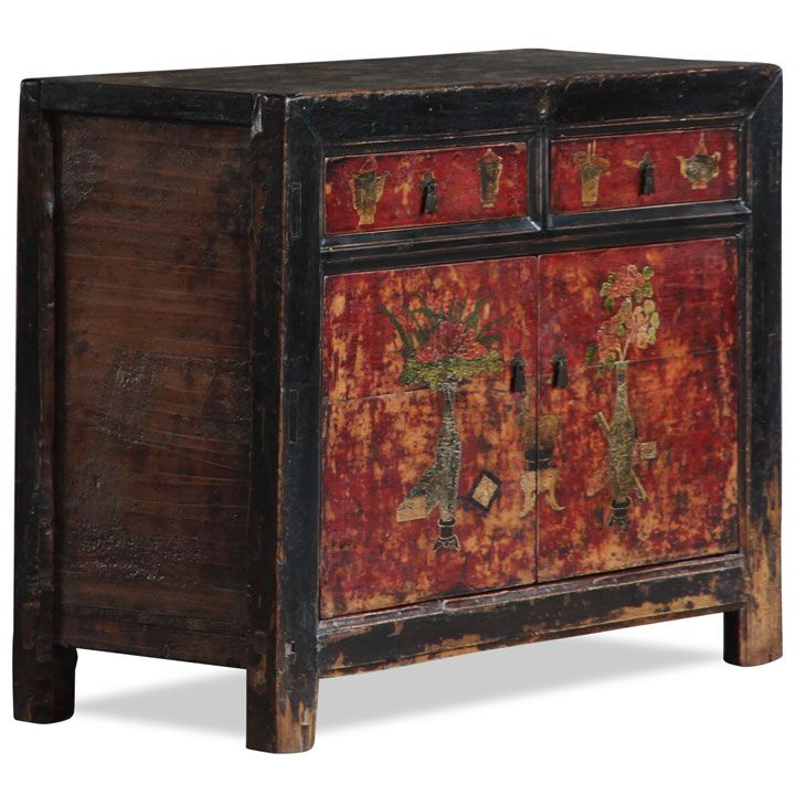 Chinese Antique Two Drawer Cabinet, Gansu Province - 53 Best Painted Oriental And Asian Furniture Images On Pinterest