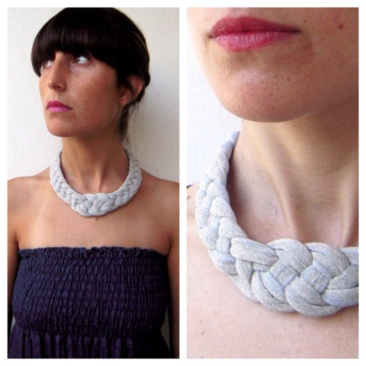 This braided necklace is soft, light and made from grey sparkle vintage fabric.