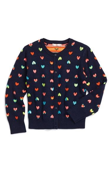 Free shipping and returns on Billieblush Sequin Hearts Knit Cardigan (Toddler…