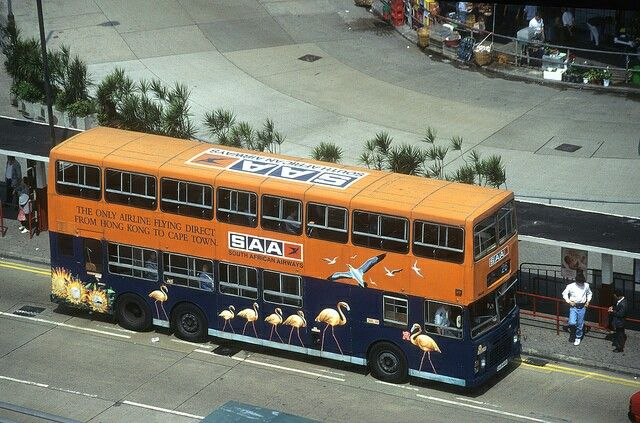 South African Airways full advert wrap on a HongKong bus
