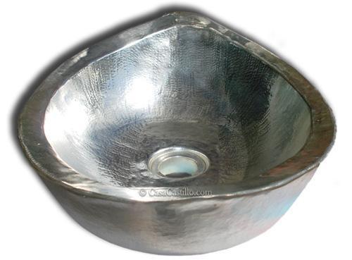 Best Powder Room Images On Pinterest Powder Rooms Vessel - Hammered silver bathroom sink for bathroom decor ideas