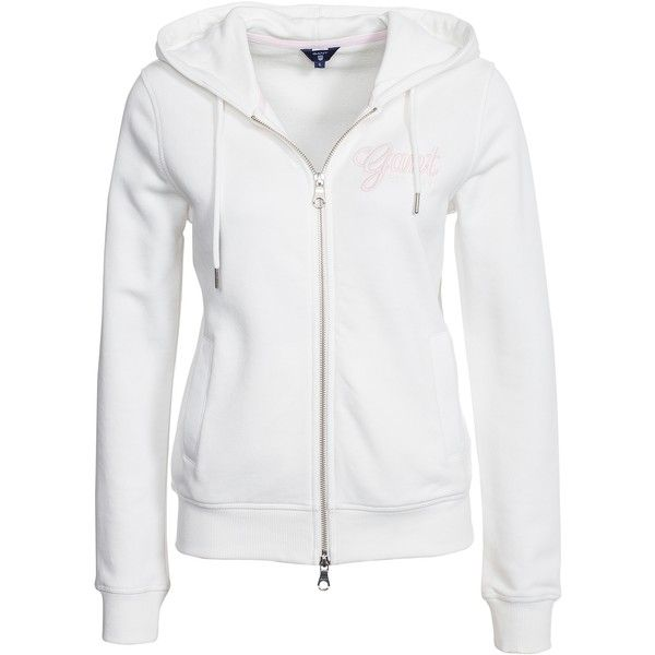 Gant Classic Hoodie ($185) ❤ liked on Polyvore featuring tops, hoodies, eggshell, jumpers & cardigans, womens-fashion, zippered hooded sweatshirt, white hoodie, hooded pullover, white top and tall hoodies