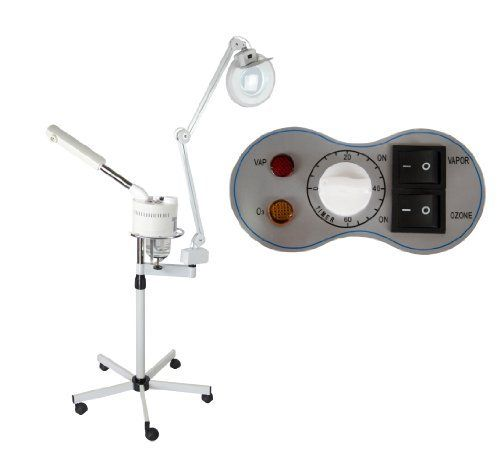 """2 in 1 Ozone Facial Steamer with Magnifying Lamp FS-10A by Salon CA. $125.00. Adjustable Base and Arm for Variations in Height. Built-In Timer. Ozone Setting Function. UV Function to Sterilize the Steam. 5x Diopter Magnifying Lamp. DIMENSIONS:    Glass Water Beaker: 22oz  Base: 27"""" x 27""""  - All dimensions listed are approximations. Save 55% Off!"""