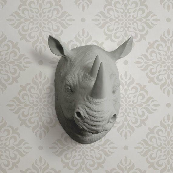 Il Serengeti in testa grigio finto Rhino - Rhinoceros falso tassidermia resina animali in ceramica Fauxidermy decorativo muro plastica Monte Replica arte