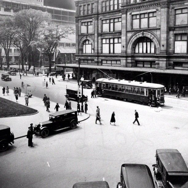 Taken in 1930 at the corner of Ste. Catherine St. and Phillips Square, Montreal