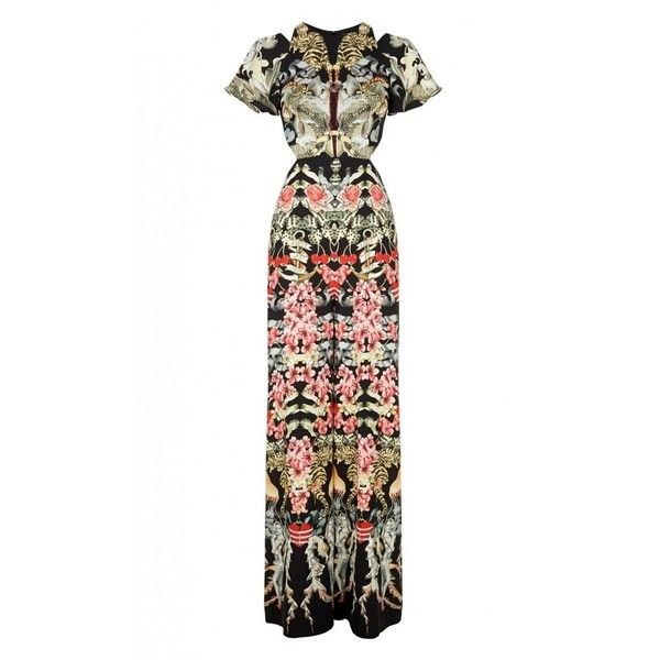 Temperley London Victory Print Jumpsuit ($1,495) ❤ liked on Polyvore featuring jumpsuits, black mix, temperley london, jump suit, wide leg jumpsuit, long jumpsuits and cold shoulder jumpsuit
