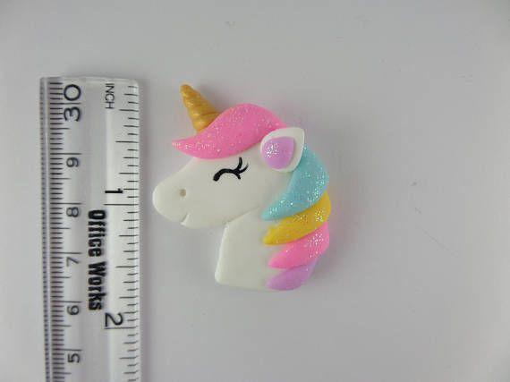 Lindo unicornio Scapbooking encanto Handmade Clay Bowcenter