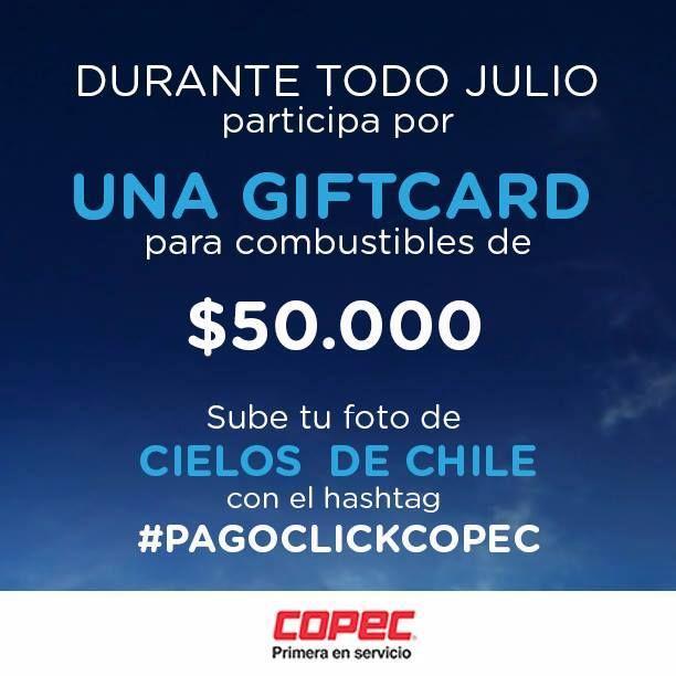 Concurso Copec: Gana una gift card diaria por $50.000 en bencina subiendo tu foto de los cielos de Chile. http://bit.ly/1rfqqe1