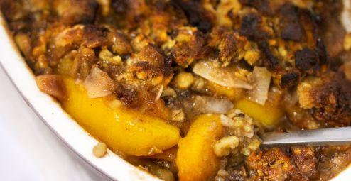 Paleo Peach Cobbler, A Sweet, Vegan Fruit Crisp Dessert -