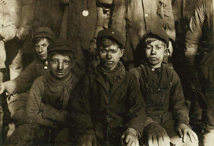 Group of Breaker boys. Smallest is Sam Belloma, Pine Street. (See label #1949). Location: Pittston, Pennsylvania.