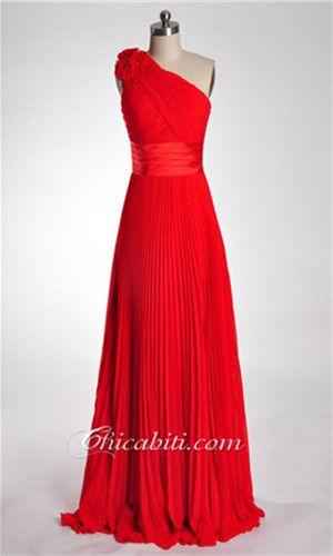 Chiffon Lungo Abito Da Cerimonia Blu Una Spalla Fiore ACM251 rossi abiti da cerimonia, abiti da sera lunghi, chicabiti
