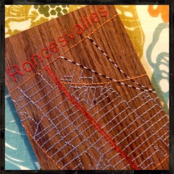 Roncesvalles Toronto stitched wood map (oak)