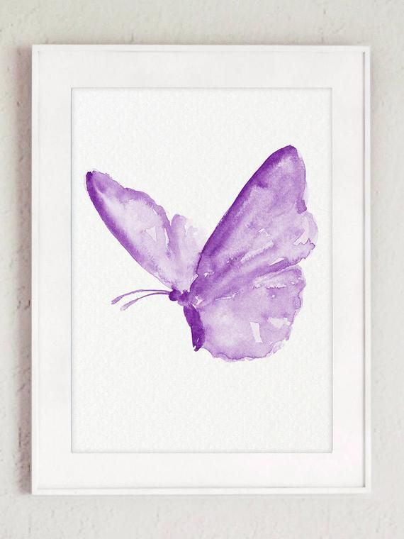 Butterfly Clipart Purple Watercolor Painting Nursery Room Wall