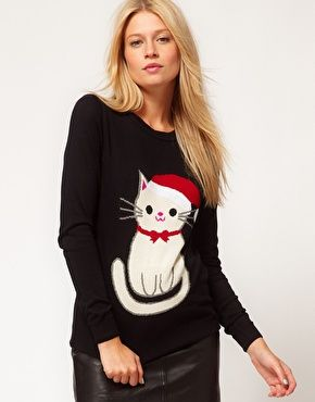 Christmas cat jumper - would make a nice embroidery project as well!