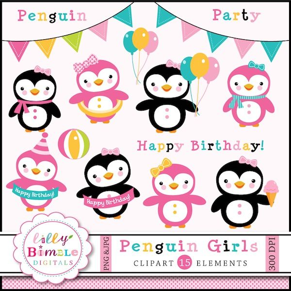 Penguin Girls Clipart Adorable girl penguin clipart for birthday party invites, cards and crafts.