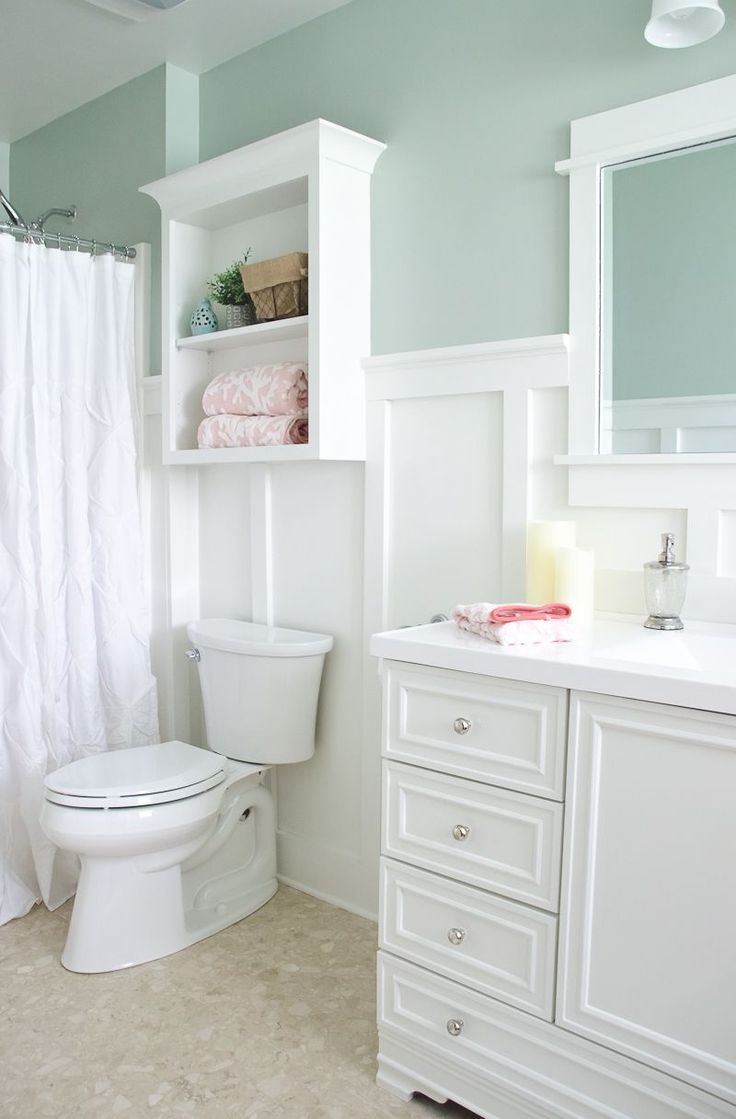 Paint for kitchens and bathrooms - Paint Colors Comfort Gray Walls Pure White Board Batten Trim Wall Cabinet Vanity Base From Lowes But Had To Be Painted White Both Sherwin