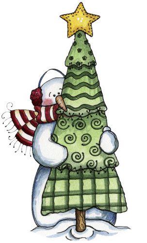 CHRISTMAS TREE AND SNOWMAN CLIP ART