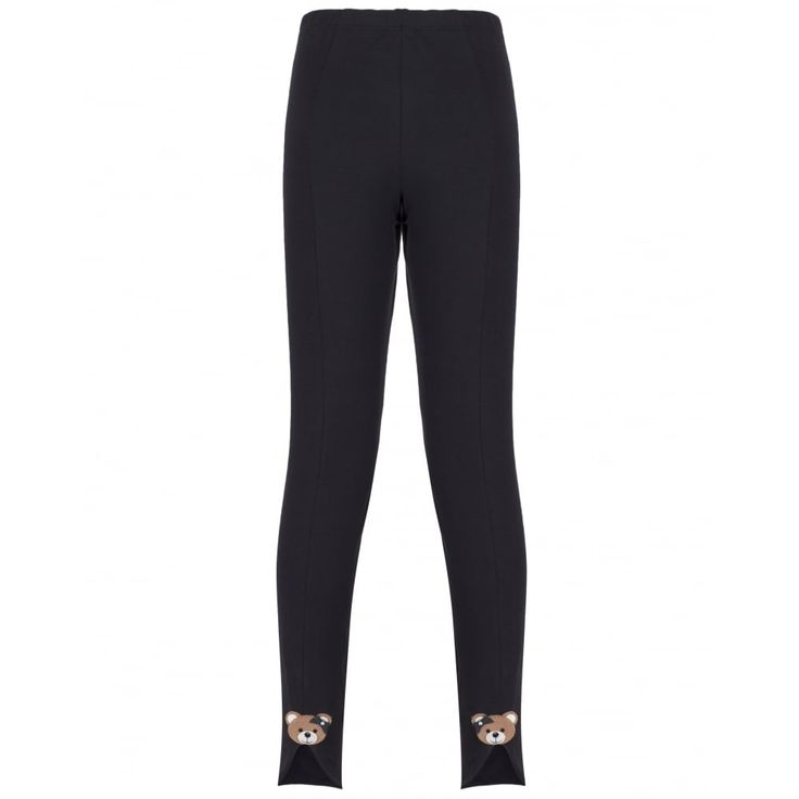 Monnalisa Girls Black Leggings with Teddy Bear Detailing and Side Slit