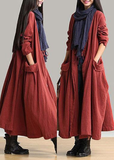 Long Sleeve Brick Red Pocket Maxi Dress | liligal.com - USD $35.84