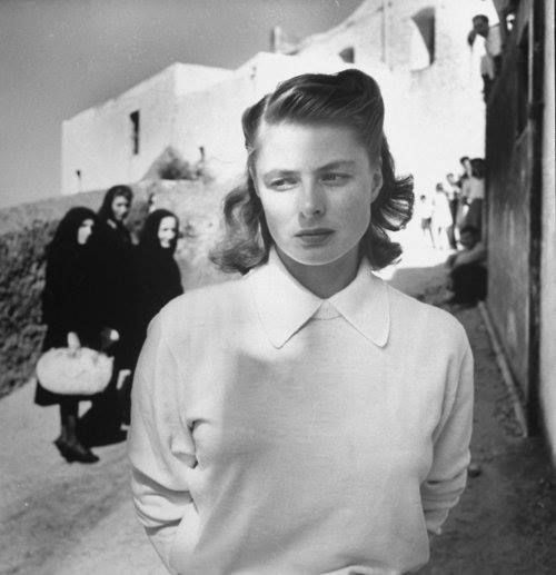 "Ingrid Bergman by Robert Capa at ""Stromboli"" set. (this is a correction of the original caption: This is NOT a Capa photo - it was taken by Gordon Parks and it was taken when she was working on 'Stromboli')"