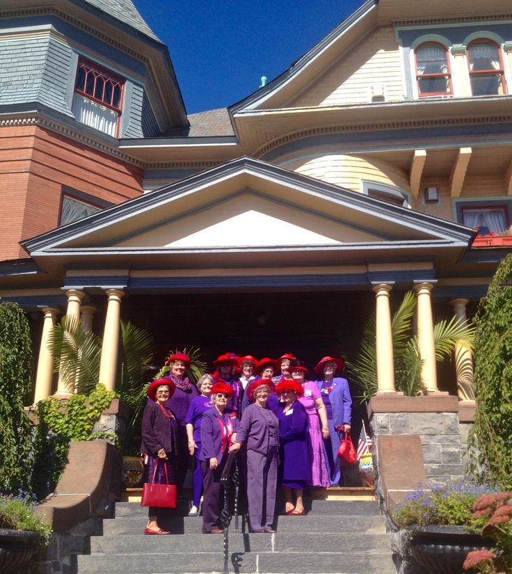 The Red Hat Society Had A Luncheon At The Union Gables Mansion Last Week Don T They All Look So Wonderful Redhatso Red Hat Society Travel Weddings Daycation