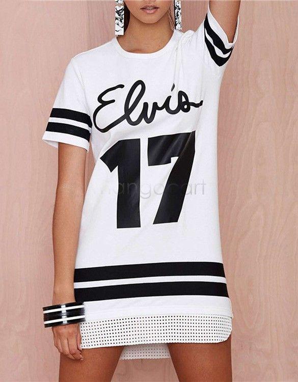 Aliexpress.com  Comprar Ropa de verano moda Casual números y letras  impresas camiseta larga de la mujer con estilo vestido de la camiseta 3… dd36ce5320e7d
