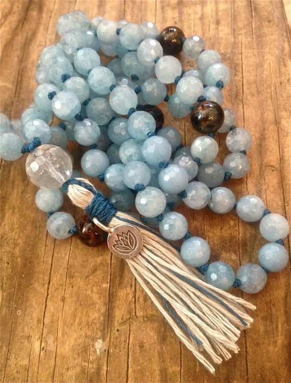108 Mala Beads Aquamarine , Pietersite , Crystal Quartz , Throat Chakra Mala  Communication Protection Knowledge Courage Intuition Healing