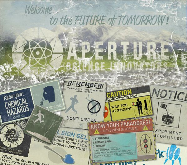 Portal 2: Aperture Science posters throughout the game