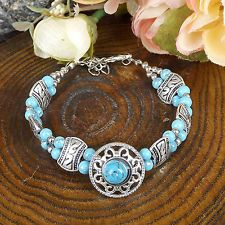 HOT Free shipping New Tibet silver multicolor jade turquoise bead bracelet S80
