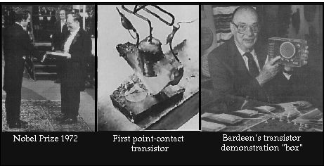 """Transistor: John Bardeen won the Nobel Prize for this invention while at Bell Labs, prior to arriving at Illinois. The transistor served as the building block for all of today's electronics. Collage of photographs--receiving his second Nobel Prize in 1972; the first point-contact transistor; Bardeen and his transistor demonstration """"box"""""""