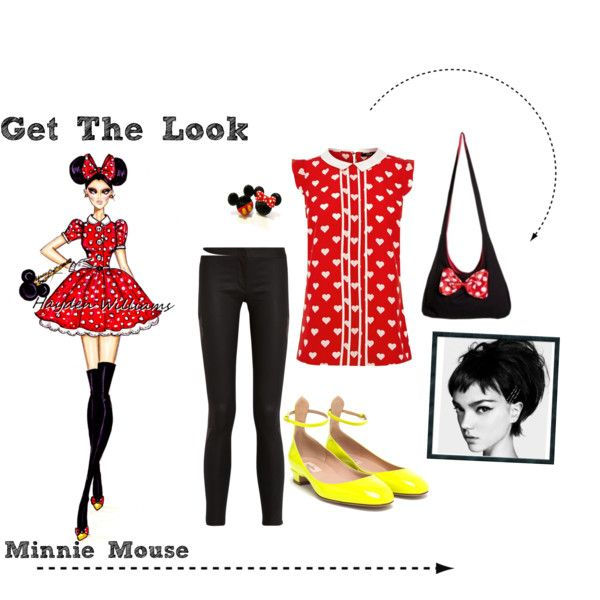 """Disney Minnie Mouse Get The Look"" by ashley  #fashion #fashionblog #Disney #pinterest #blackhair #redhead #dress #shoes #heels #Minniemouse #redshirt #disney #getthelook #highfashion #love #haydenwilliams"