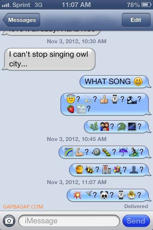 Hilarious Emoji Text Message About Songs