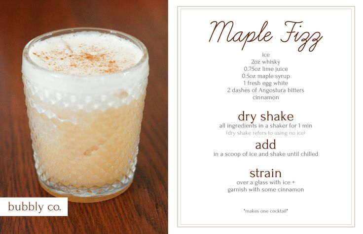 Maple Fizz - warm + comforting, perfect for a evening around the fire.