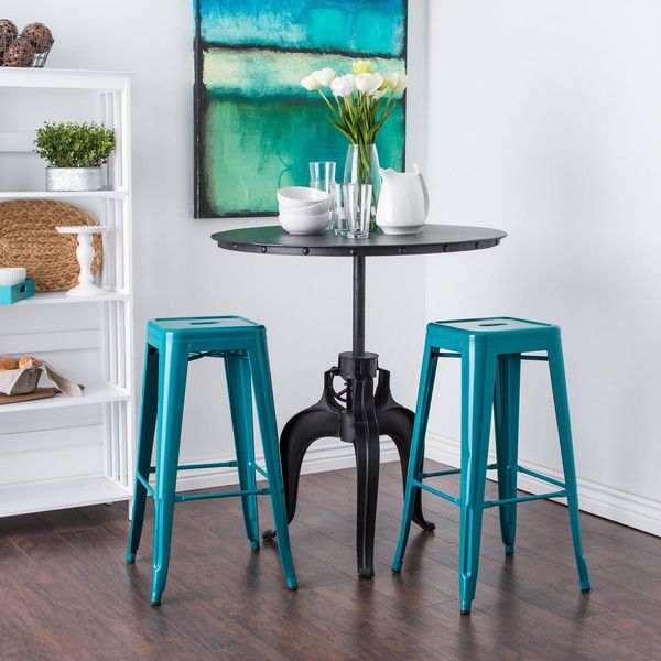 Tabouret 30-inch Peacock Bar Stools ($125) ❤ liked on Polyvore featuring home, furniture, stools, barstools, blue, steel furniture, storage foot stool, blue counter stools, steel bar stools and steel stool
