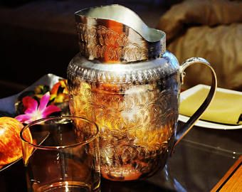 Vintage Thai Aluminium pitcher engraved with traditional thai motives-Southeast Asian collectibles-Kitchenware-Serving utensil-Asia decor