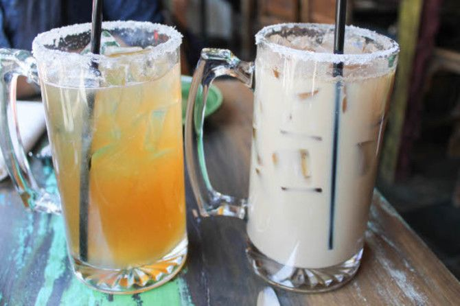 Iced Coffee Horchata at the Painted Burro Boston