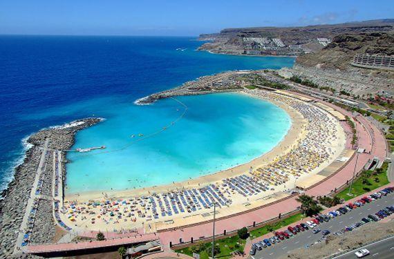 Playa de puerto rico gran canaria gran canaria pinterest playas islas y espa a - Piscinas naturales galdar ...