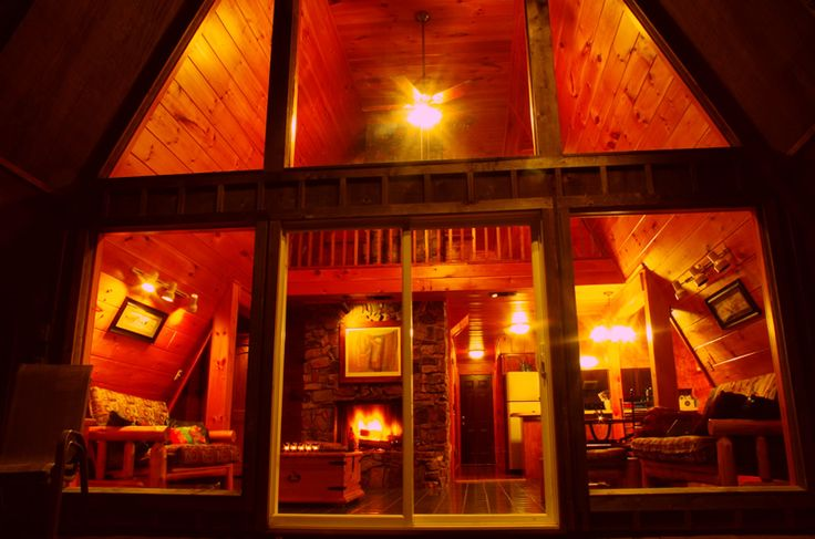 Looking through cabin cottage windows at night. I'm sold!