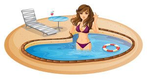 Cartoon of a lady in a small circular pool similar to the Hidden Waters design