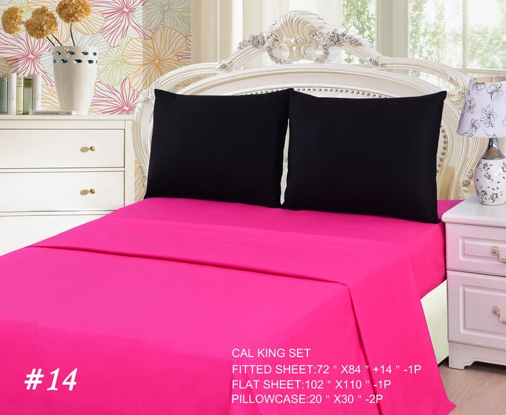 tache 3 to 4 pc cotton solid pink superstar u0026 black bed sheet set - California King Bed Sheets