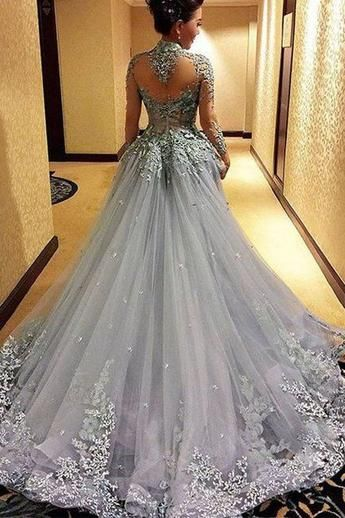 82c7c4c59531 Ball Gown Princess Long Sleeves Tulle Gray Long Formal Prom Dress ...