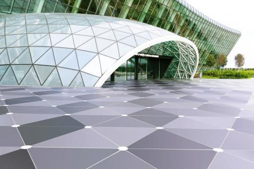 Dekton by Cosentino Flooring @ Baku Airport: the most decorative aspect of the project was with regard to its production – using a single material – of equilateral triangles measuring 1.5 metres on each side, and in three different colours, which when combined achieve a 3D effect of raised cubes.