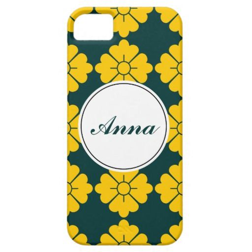 Personalizable floral pattern phone cases - Personalize by adding your own name. The design (in yellow) is tileable (you can scale it up or down to customize it). The background (in dark green in the preview) can be changed to any color you like. If you don't like to personalize (you want only the pattern), you can remove the border/frame and text.